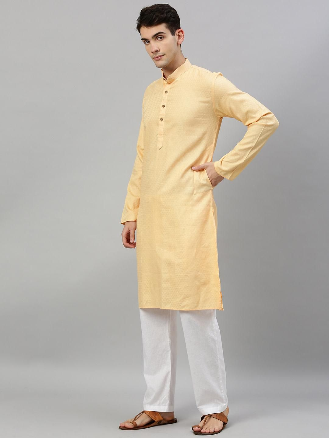 Peach Woven Design Premium Cotton Kurta