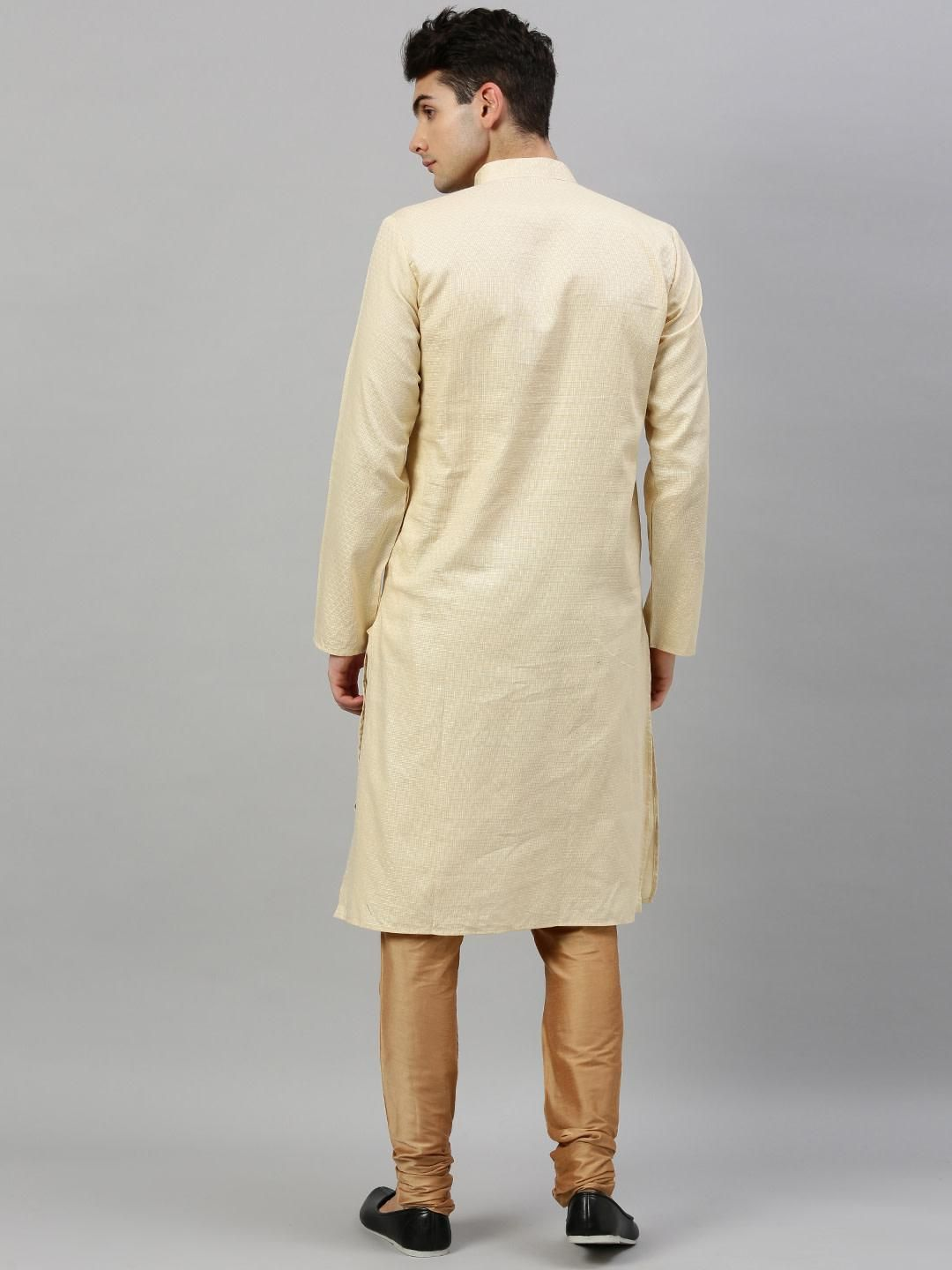 Cream Woven Design Premium Cotton Kurta