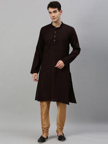 Dark Brown Woven Design Premium Cotton Kurta