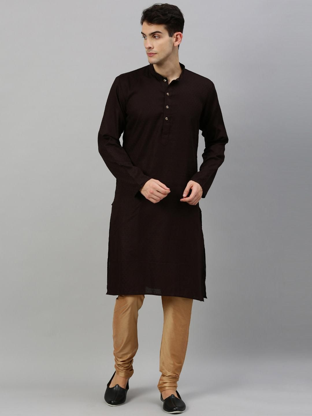 Dark Brown Woven Design Premium Cotton Kurta