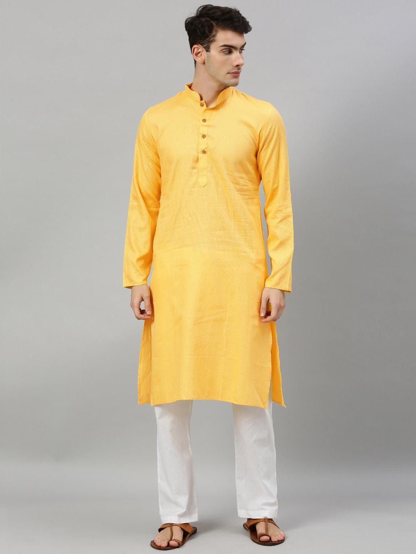 Yellow Woven Design Premium Cotton Kurta