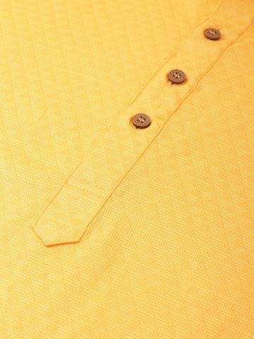 Yellow Woven Design Premium Cotton Kurta