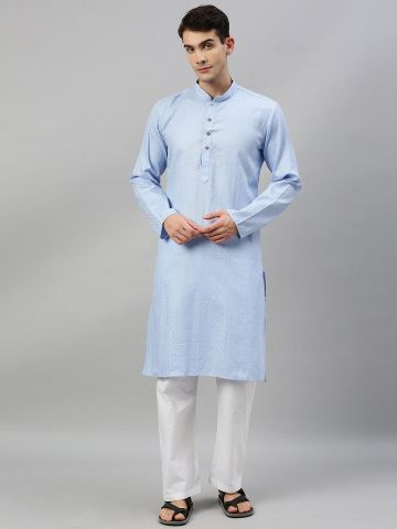 Light Blue Woven Design Premium Cotton Kurta
