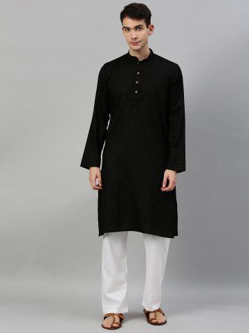 Black Woven Design Premium Cotton Kurta