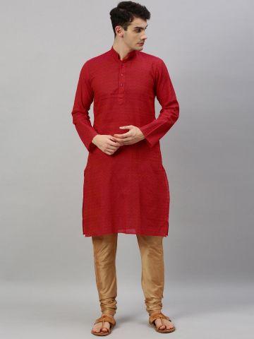 Pink Woven Design Handloom Cotton Kurta