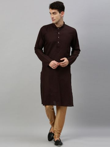 Brown Linen Blend Long Kurta