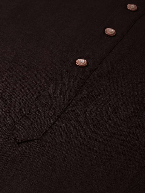 Brown Linen Blend Long Kurta