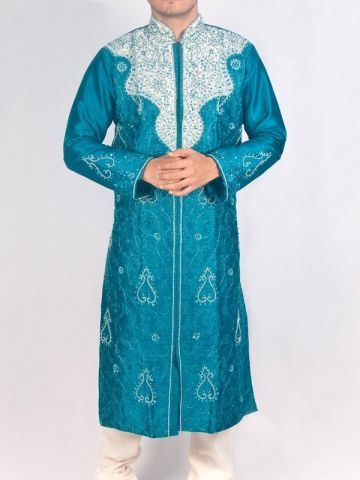 Peacock Blue Silk Sherwani Kurta Set