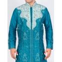 Peacock Blue Silk Sherwani Kurta Set