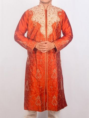 Rust Orange Silk Sherwani Kurta Set