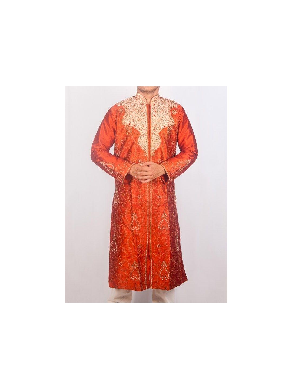 Rust Orange Silk Sherwani Kurta Set