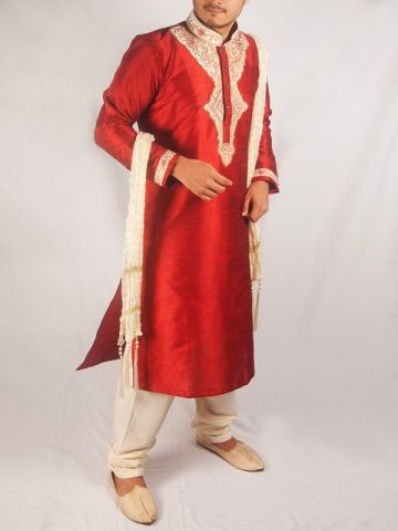 Red Silk Kurta Chudidar Set