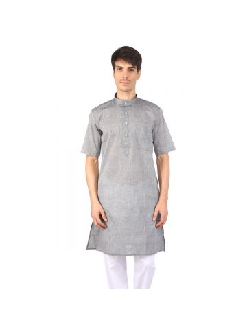 Light Grey Half Sleeve Cotton Kurta