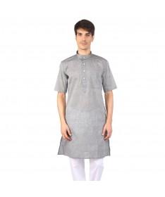 Light Grey Half Sleeve Cotton Kurta