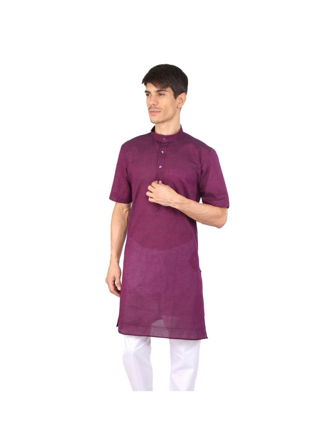 Vine Purple Half Sleeve Cotton Kurta