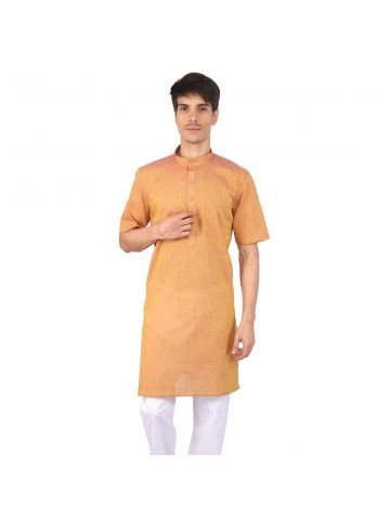 Yellow Half Sleeve Cotton Kurta