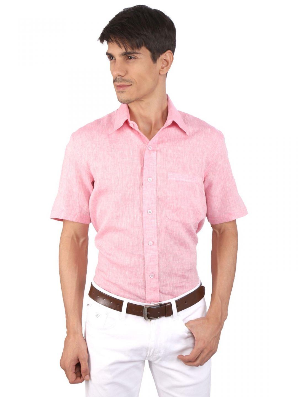 JAPs Pink Pure Linen Shirt Short Sleeve