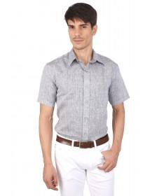 JAPs Grey Pure Linen Shirt Short Sleeve