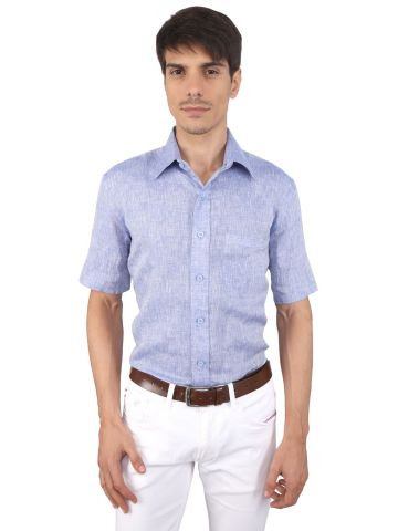 JAPs Blue Pure Linen Shirt Short Sleeve