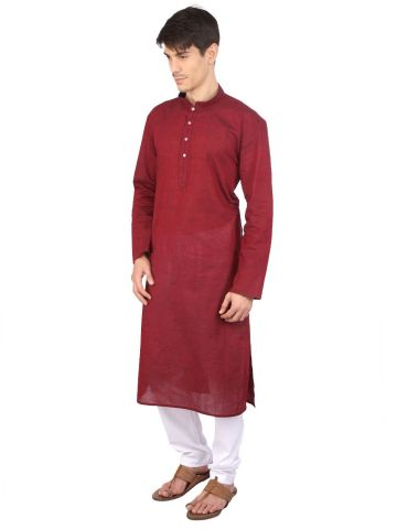 Red Cotton Long Kurta