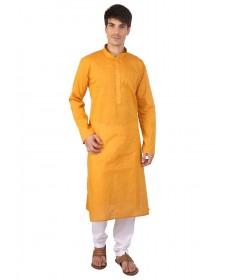 Yellow Cotton Long Kurta