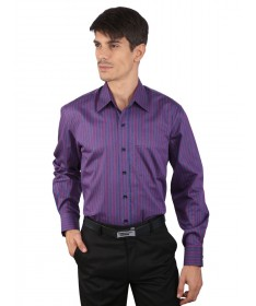 JAPs Men's Maroon Navy Striped Formal Shirt