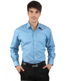 JAPs Blue Green Striped Cotton Formal Shirt
