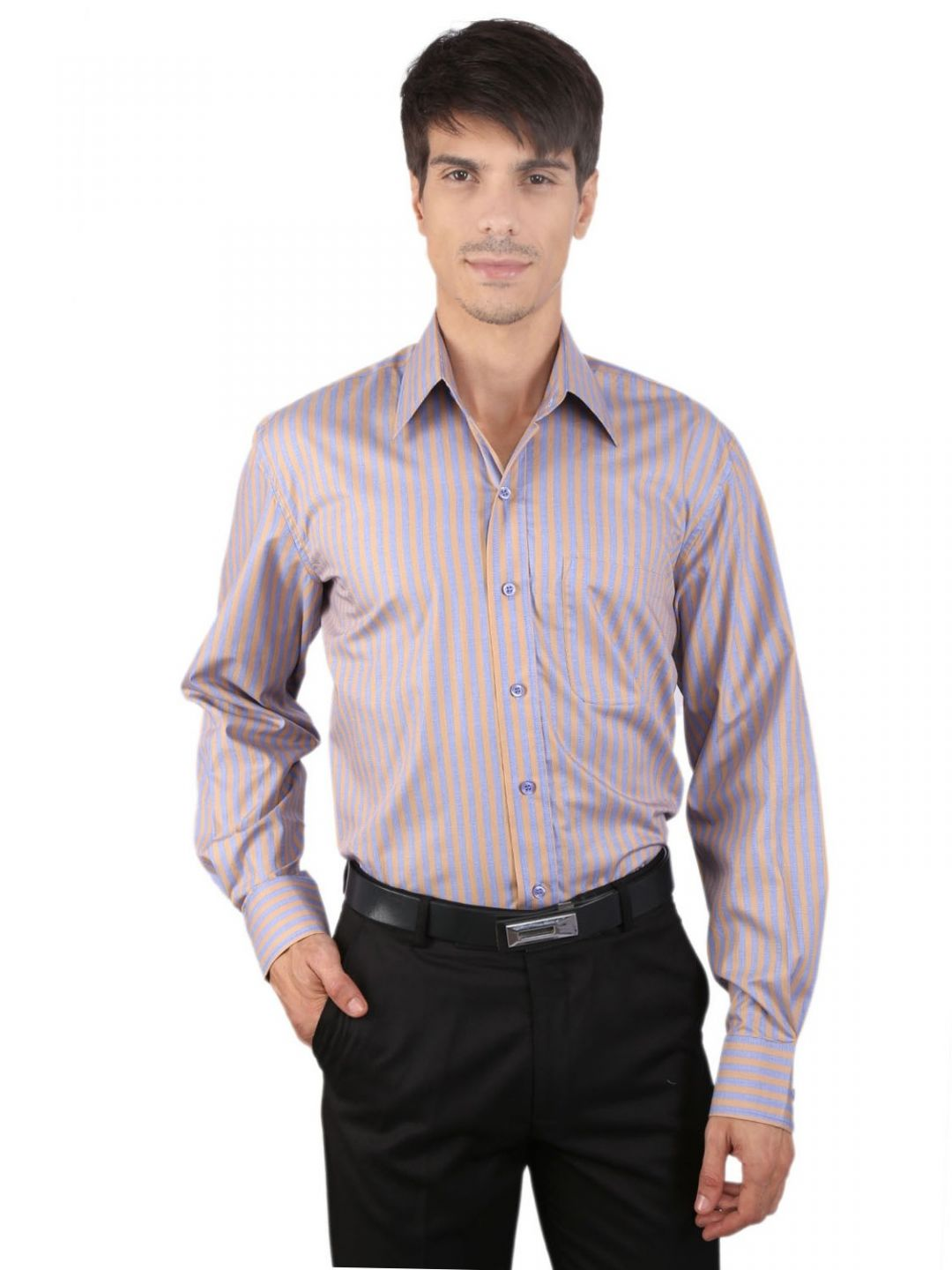 JAPs Men's Beige Blue Striped Formal Shirt