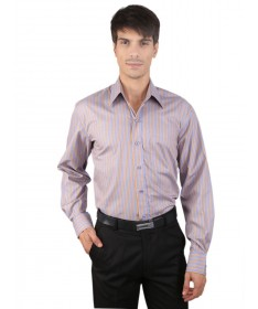 JAPs Beige Blue Striped Cotton Formal Shirt