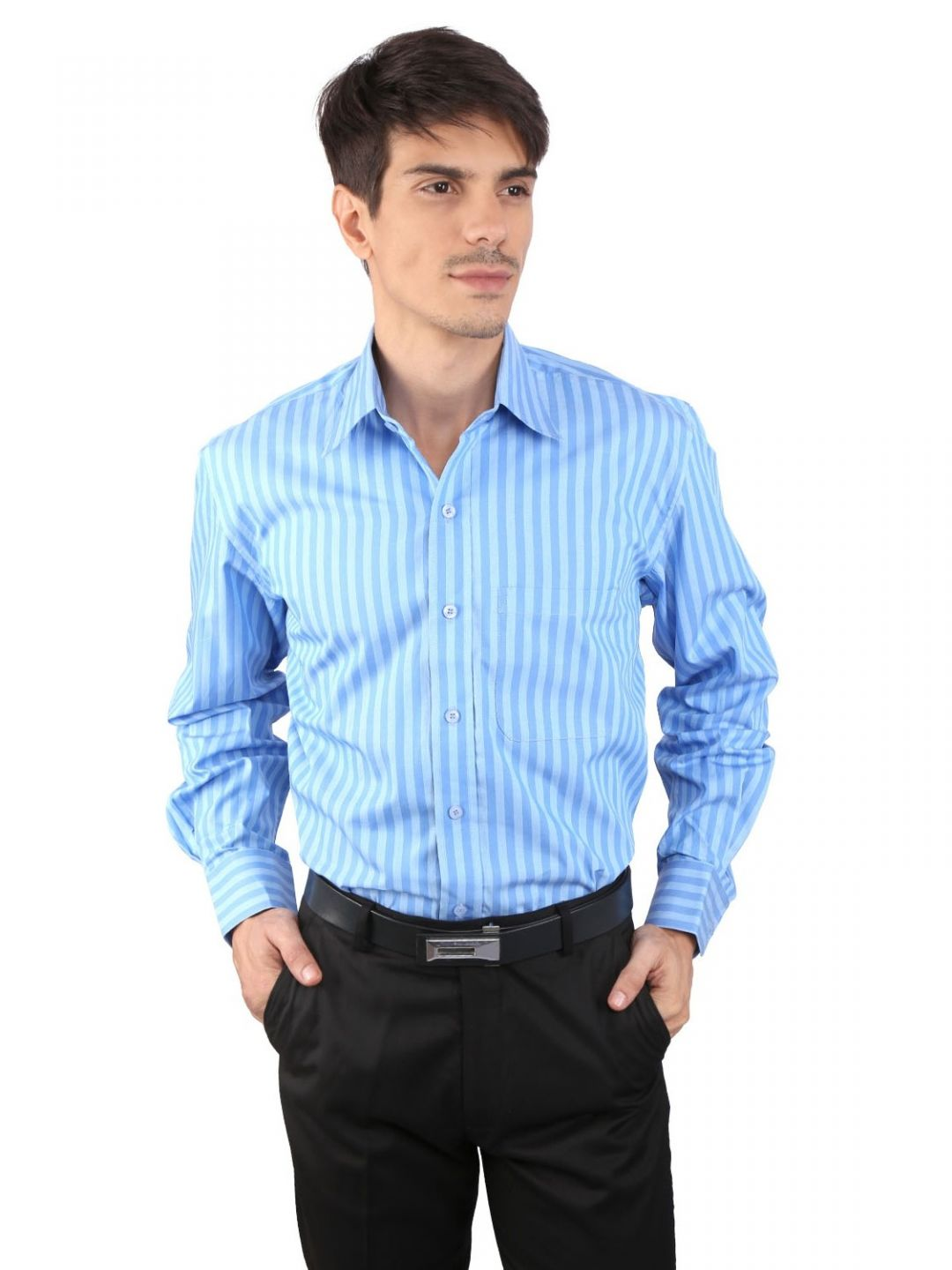 JAPs Men's Blue Striped Formal Shirt