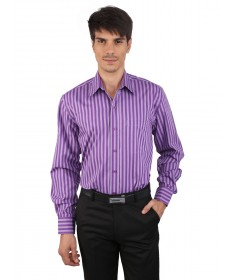 JAPs Purple Striped Cotton Formal Shirt