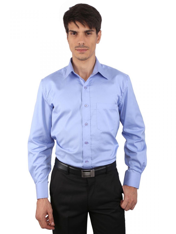 JAPs Men's Blue Solids Formal Shirt