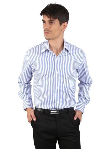 JAPs Blue Striped Cotton Formal Shirt