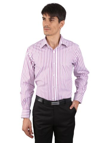 JAPs Pink Striped Cotton Formal Shirt