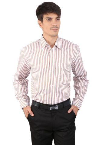 JAPs Beige Striped Cotton Formal Shirt