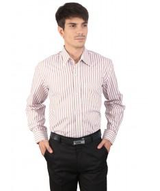 JAPs Beige Striped Cotton Formal Shirt