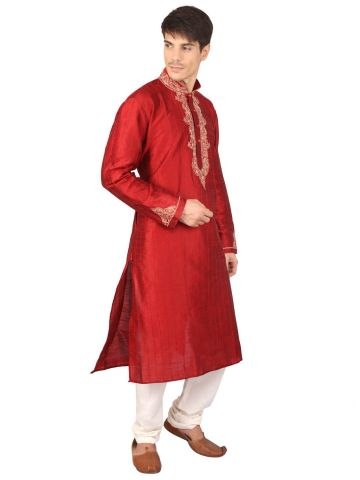 Red Jacquard Silk Kurta Chudidar