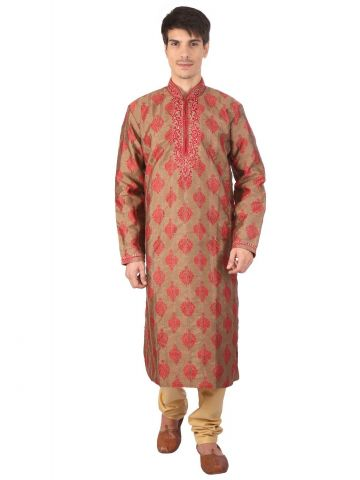 Red Brocade Silk Kurta Churidar
