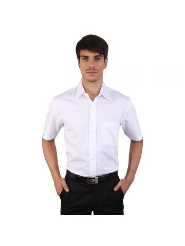 JAPs White Cotton Half Sleeve Formal Shirt