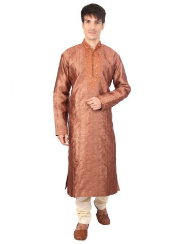 Brown Brocade Silk Kurta Churidar