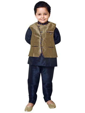 Rajubhai Hargovindas Blue Kurta Pyjama Jacket Set