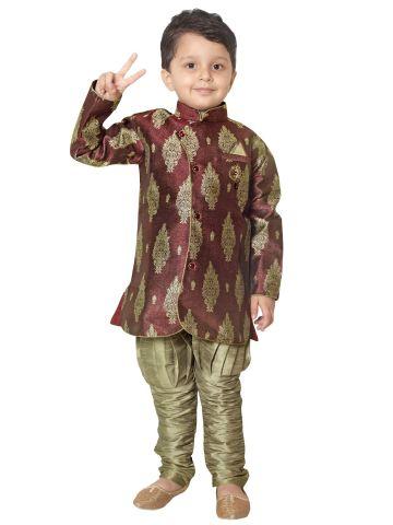 Rajubhai Hargovindas Brown Silk Kurta Pyjama Set
