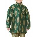 Rajubhai Hargovindas Green Silk Kurta Pyjama Set