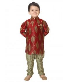 Rajubhai Hargovindas Red Silk Kurta Pyjama Set