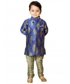 Rajubhai Hargovindas Blue Silk Kurta Pyjama Set