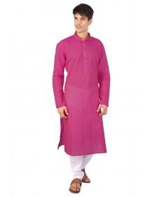 Deep Pink Cotton Long Kurta